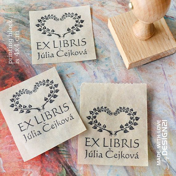 Heart: personalised stamp 4x4 cm by lida21 on Etsy