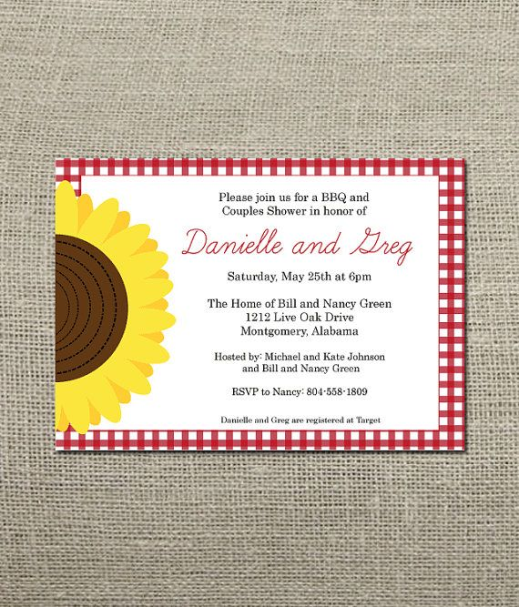 Gingham And Sunflower BBQ Invitation Wedding By KellerCreative