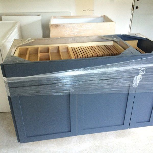 Cabinet Color Is Sherwin Williams Outerspace Grey Kitchen Island Grey Blue Kitchen Kitchen Cabinets Painted Grey