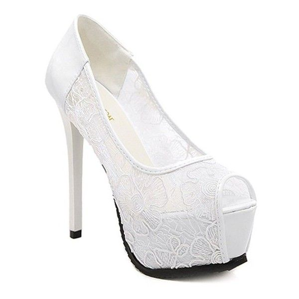 Lace Platform Stiletto Heel Peep Toe Shoes White ($45) ❤ liked on Polyvore featuring shoes, pumps, platform pumps, white platform pumps, white shoes, lace pumps and platform stilettos
