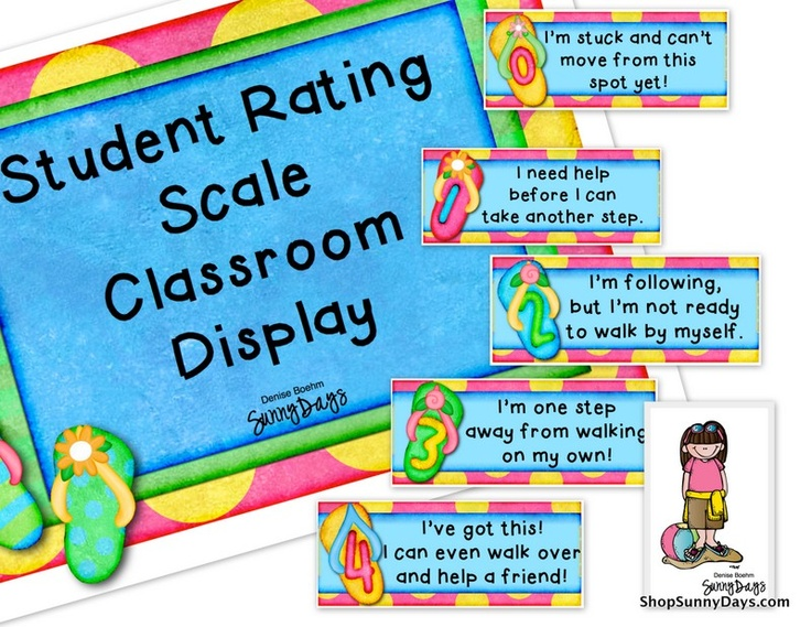 Marzano Student Rating Scale.  This looks great for building enough self-awareness to enable kids to set meaningful goals for themselves.  I'm mulling over some ideas for a bit more gender neutral theme.... but the flip-flops are really cute :~)  What about some Converse shoes?  Maybe the shoe could be shown in side-view and the number could be added to that circular ankle patch.