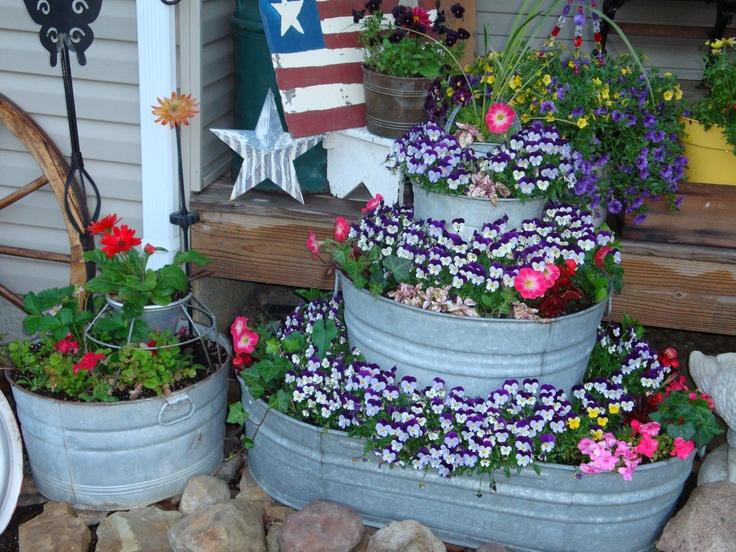 Galvanized Tub Flower Pots Flowers Pinterest Flower