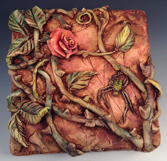 ceramic and polymer clay tile art | Rose and Spider – Relief Sculpture on Ceramic Tile Painted in Oils