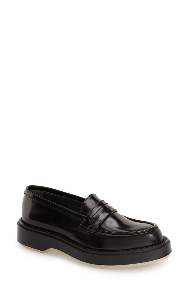 Free shipping and returns on Adieu Calfskin Leather Penny Loafer (Women) at Fashiondoxy.com. A pebbled sole lends utilitarian style to a menswear-inspired shoe set on a chunky platform heel and shaped from lustrous calfskin leather