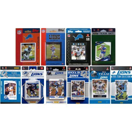 C Collectables NFL Detroit Lions 10 Different Licensed Trading Card Team Sets, Multicolor