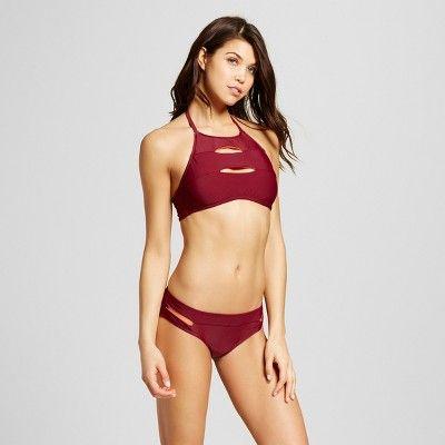 Women's Cut Out Bikini Bottom - Maroon - S - Mossimo, Red