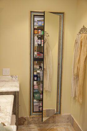 Bathroom: European architecture, old architecture, Spanish design, Mediterranean, Tuscan, Italian, French, European styles, California Ranch, full length decorative mirrored medicine cabinet, stone floor