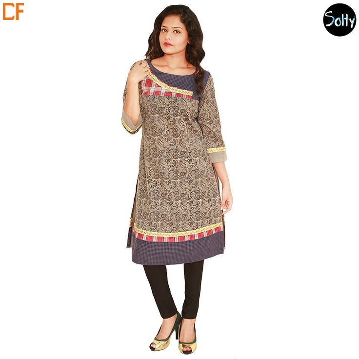 Checkered and printed kurti in cotton material. Opt for cotton as it is a natural product and has many advantages, such as, it's ability to control moisture, insulate, weatherproof and a durable fabric. The kurti has a boat neckline, 3/4th sleeves, and slits at the sides. A combination of prints and hues put together to make a unique piece of display. http://www.droomfashion.com/shop/brands-kurtis/checkered-printed-cotton-kurti/
