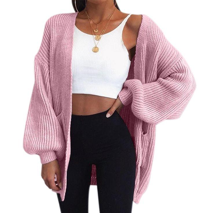 ALijET Autumn Winter Fashion Women Long Sleeve Loose Knitting Cardigan Sweater Women Knitted Female Cardigan Pull Femme