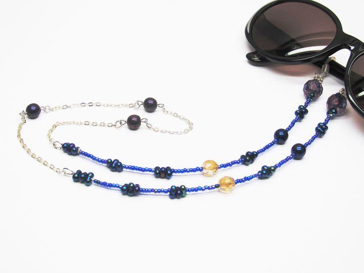 Cordon lunettes fantaisie chaine et perles bleues : Lunettes, lunettes de soleil, cordons par murielcrea