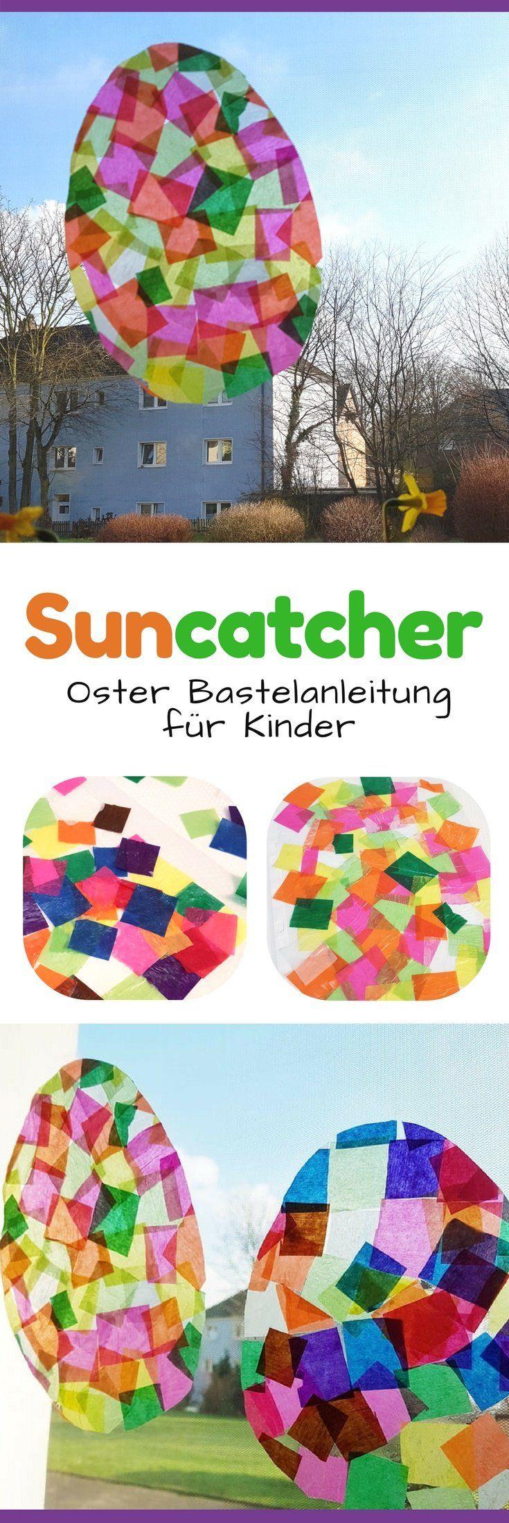 Osterei Fensterbilder: Sonnenfänger mit Kindern für den Frühling basteln ☀…