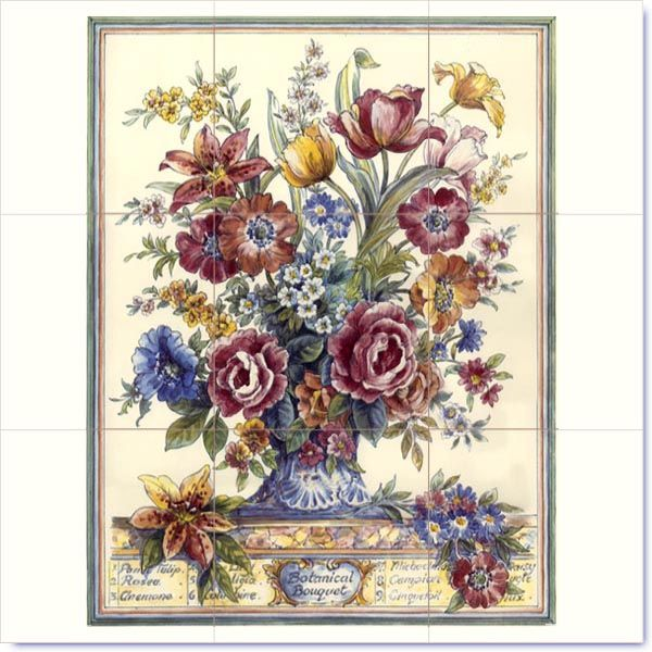 10 best images about floral murals on ceramic tiles on for Ceramic mural designs