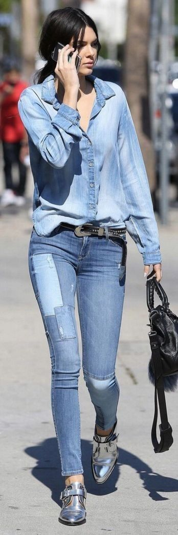 #kendalljenner #best #street #style #outfits |Kendall Jenner Denim On Denim With Touch Of Silver Celebrity Street Style                                                                             Source