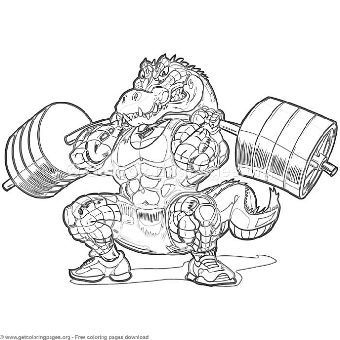 Weightlifting Alligator Coloring Pages Free Instant Download Coloring Coloringbook Color Animal Coloring Pages Cartoon Coloring Pages Crocodile Illustration