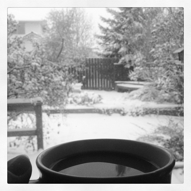 "@janemma1234's photo: ""#drinking #coffee and #watching the #snow #fall"""