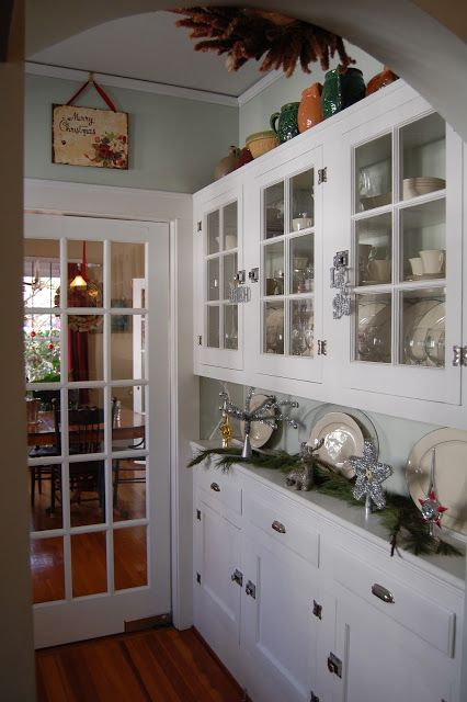 1920 Bungalow Kitchen built in nook and china cabinet | An original built-in cabinet between the dining room and kitchen ...