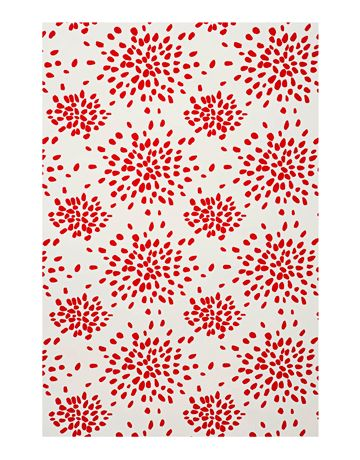 Fireworks in Red on White  Fiery dazzle from decorating great Albert Hadley. Vinyl-coated paper. Albert Hadley at Hinson & Company: 212-475-4100.