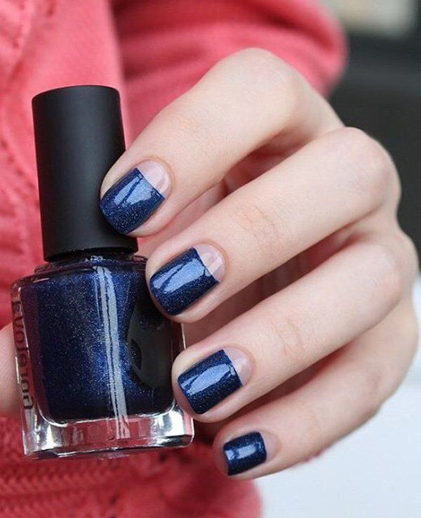 Midnight blue is a really bueatiful color whether completely covering your nails or if you have a half moon design.