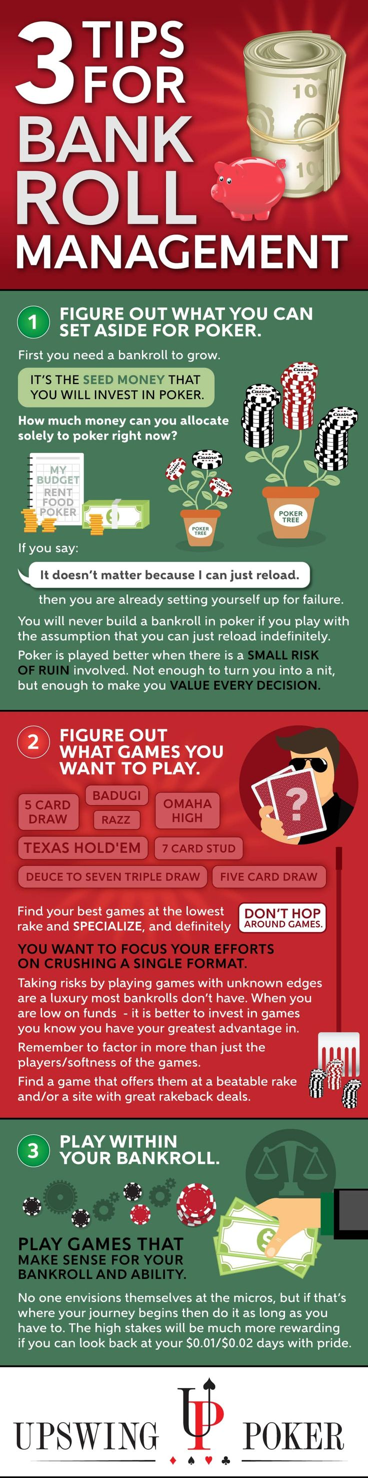 3 Tips for Bankroll Management in poker strategy INFOGRAPHIC