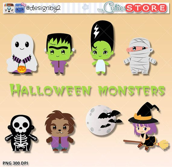 Halloween monster clipart, party graphics, planner stickers, scrapbooking