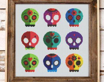 cross stitch pattern mexican halloween sugar skulls instant pdf download - Mexican Halloween Skulls