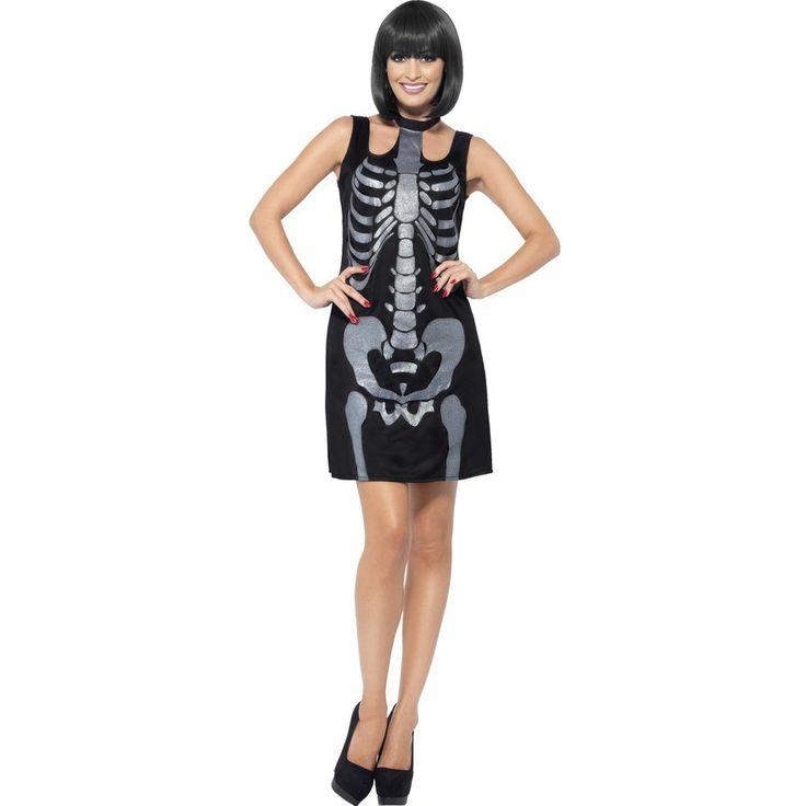 Halloween Kostuums & Verkleedkleding - Zwarte Halloween Jurk met Glitter Skeletten Print