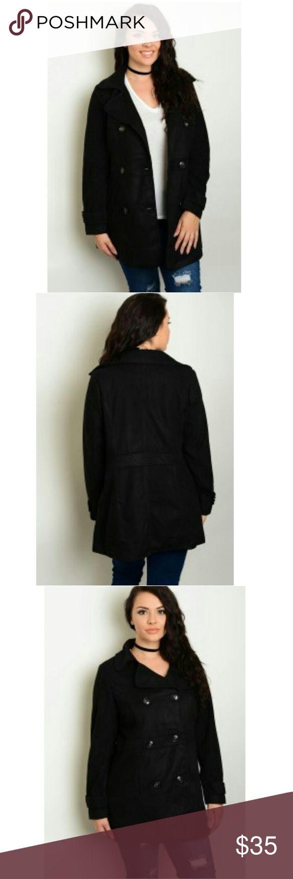 NWT women's pea coat Just arrived black pea coat!! Jackets & Coats Pea Coats