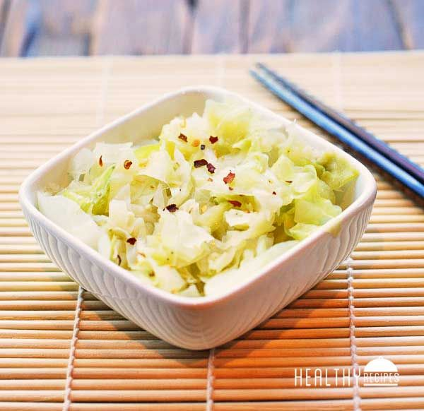 Steamed Cabbage - cabbage, unsalted butter, minced garlic, kosher salt, black pepper, red pepper flakes