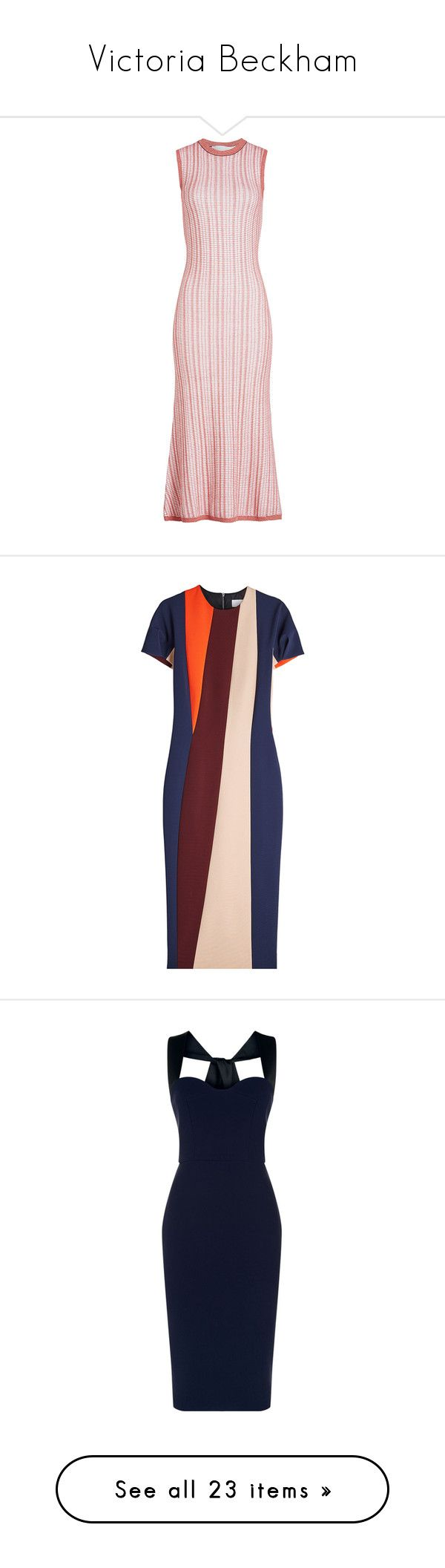 """Victoria Beckham"" by bliznec ❤ liked on Polyvore featuring dresses, multicolored, victoria beckham, rib knit dress, victoria beckham dresses, ribbed knit dress, structured dress, stripe dress, striped short sleeve dress and pencil dress"