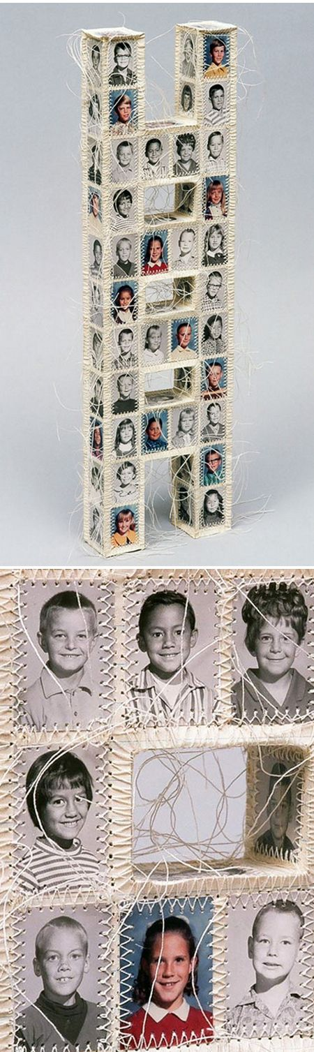 Found images, AND thread? Oh, be still my beating heart! California based artist Lisa Kokin is killing me with this work.
