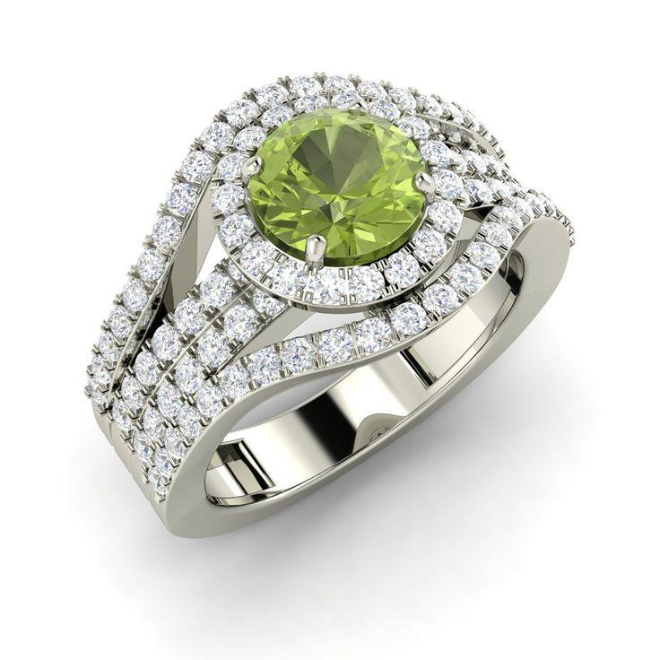 1.91 Ct Certified Round Cut Peridot & Diamond 14K White Gold Engagement Ring | eBay