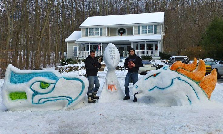 Seahawks broncos snow sculptures   Fans create Super Bowl 48 snow sculptures for Seahawks, Broncos and ...