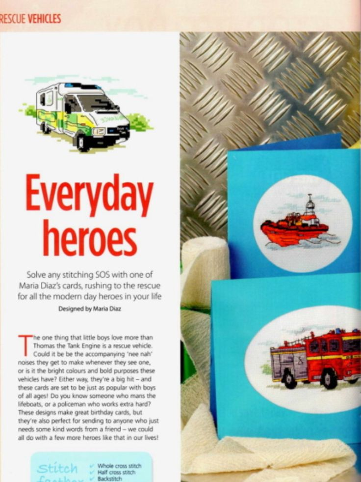 Everyday Heroes 1/2 Cross Stitch Card Shop Issue 83 March/April 2012 Saved