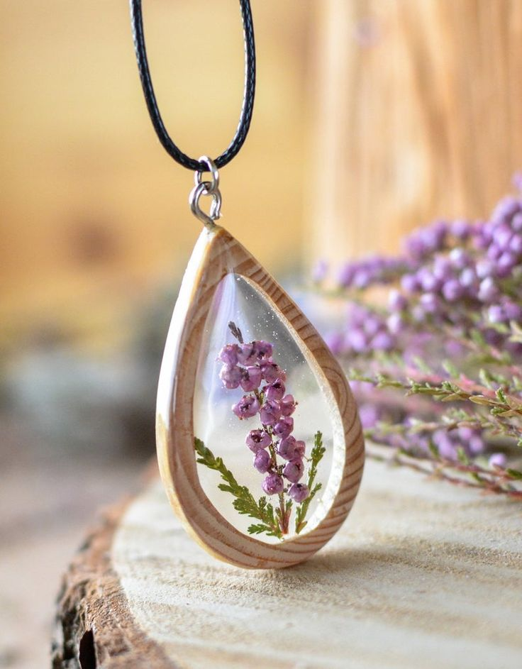 Terrarium necklace, real dried wild Heather flowers in a wood and resin pendant necklace