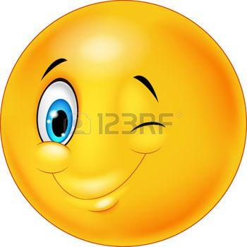 smiley face cartoon: Smiley happy emoticon cartoon with eye blinking