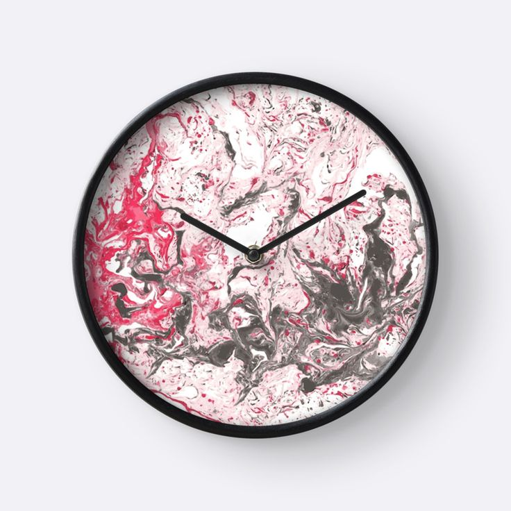 """Red and white marble texture."" Clocks by kakapostudio 