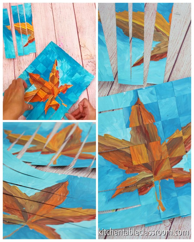 Weaving Paper – Joining Two Paintings – The Kitchen Table Classroom