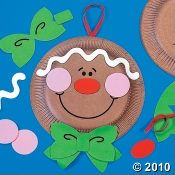 Gingerbread, Christmas, Kids Crafts.     This project could be easily made from construction paper instead of buying the kit.