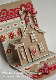 handmade pop-up Christmas card ... gingerbread house of kraft with white accents ... from The Dining Room Drawers: Karen Burniston's Snippets Collection!!! (And Pop 'n Cuts House Card) ... great card!!