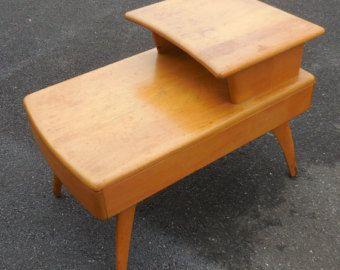 Mid Century Modern Heywood Wakefield Step End Table With Drawer Solid  Birchwood Wheat Finish