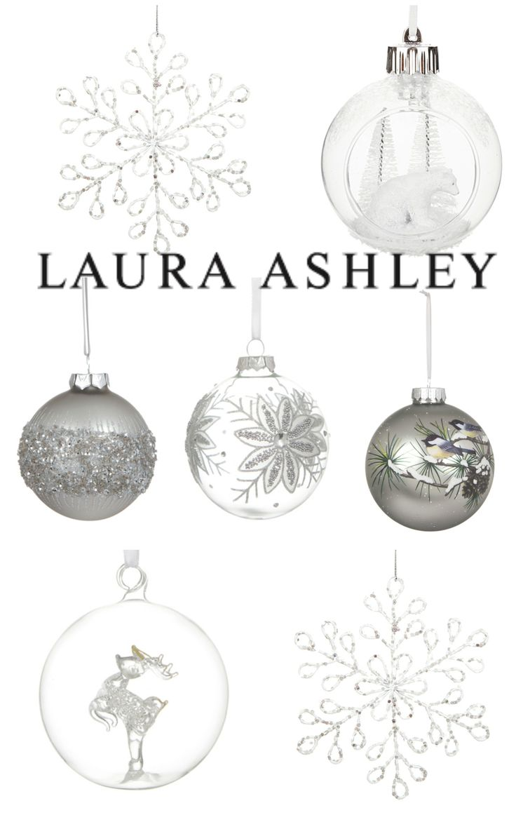 Beautiful Christmas Ornaments from Laura Ashley - white, silver and gold - affiliate link