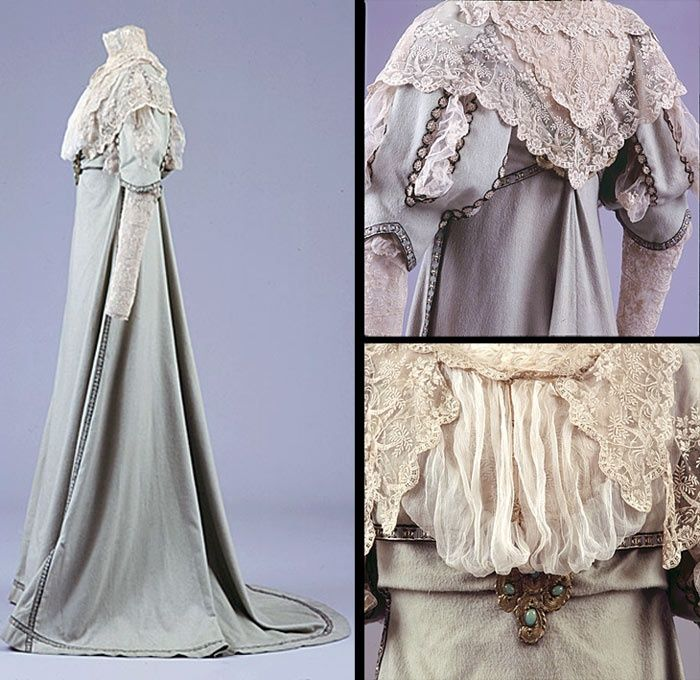 Walking outfit, Sarah Fullerton Monteith Young, ca. 1909-10. Dress & jacket, light green wool flannel trimmed w/black, white & gold silk braid. Dress neckline filled w/tiers of cream lace, embroidered w/tropical trees & cream silk georgette. Half-length sleeves, slashed to show cream net & lace embroidered w/flowers. Full-length undersleeves embroidered w/cherubs. On bodice front & back are decorative metal buckles set w/oval jade stones. Jacket is short & flared. Brighton & Hove Museums