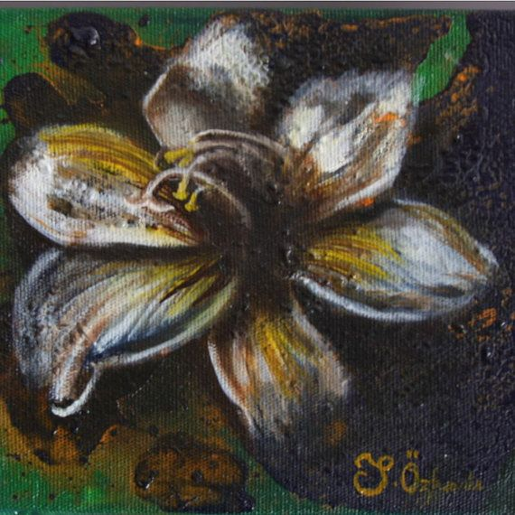 6x6 inches oil painting on canvas white orchid