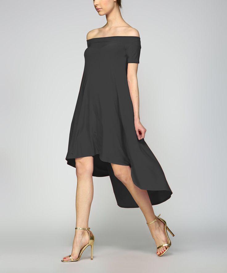 Take a look at this Solo La Fe Black Off-Shoulder Hi-Low Dress today!