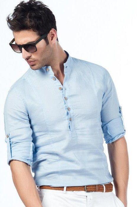 duz yaka Yeni Sezon Erkek Gömlek Modelleri