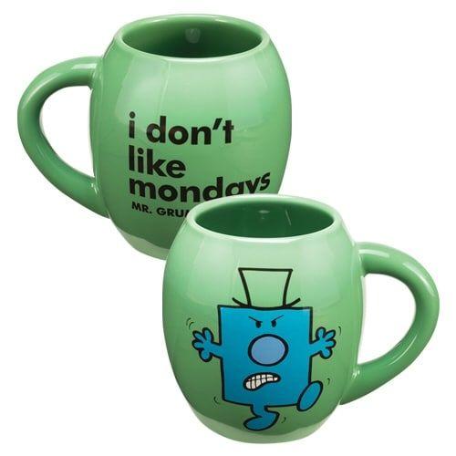 Mr Men Little Miss Mr. Grumpy 18 Oz Ceramic Oval Mug, Blue wash