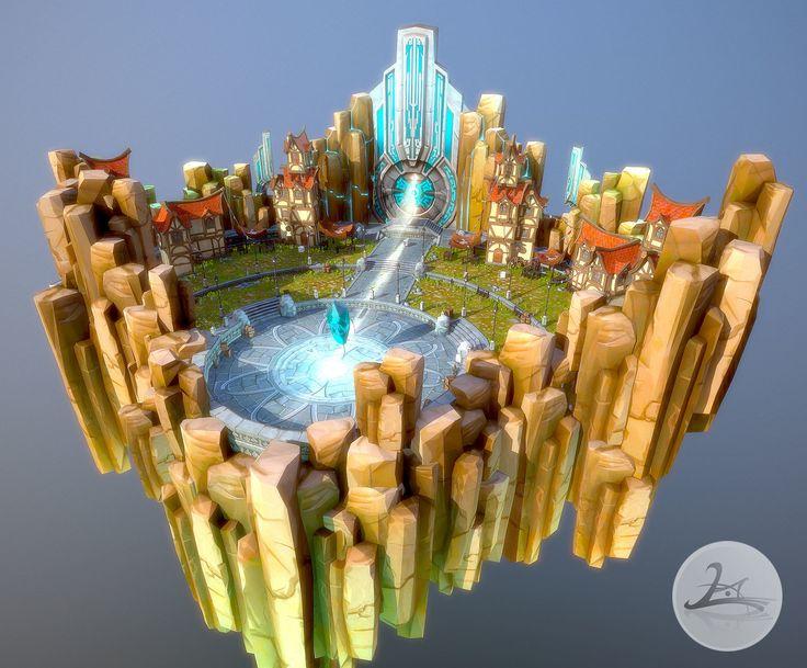 Floating Village(Daytime), HyungHo Jang on ArtStation at https://www.artstation.com/artwork/floating-village-daytime