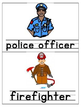 Community Helpers Pictures & Words - Pictures of community helpers and their names. They can be used for a bulletin board, a book, or as pictures to introduce the community helpers to your students. 8 pages
