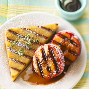 Dessert Polenta with Grilled Balsamic Plums (replace butter for earth balance or another vegan friendly substitute)