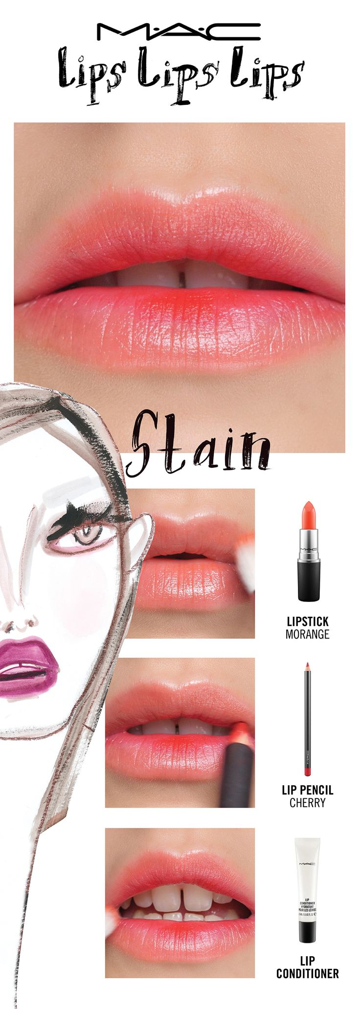 It's summer! Go for a juicy, just-bitten look. Bold colour looks gorgeously natural when applied as a lip stain. For a delicious effect, try The Sherbet Stain seen here! Try a lip trend, then make it your own! Your choice. Your creation. Your trend.  Created by Senior Artist Melissa Gibson, inspired by Shawn Xu.